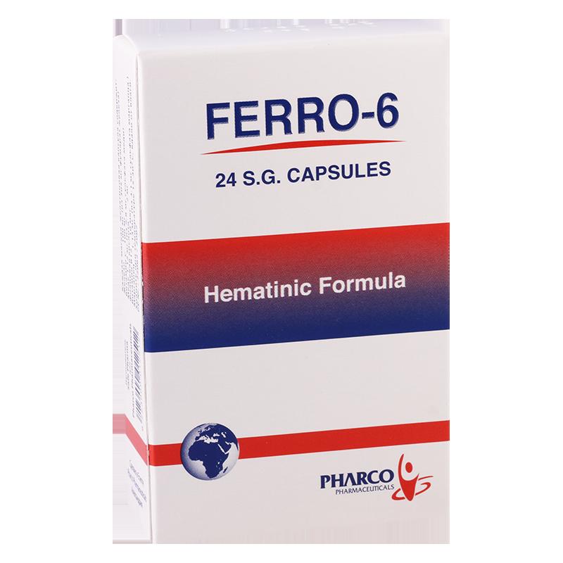كبسولات فيرو 6 مكمل غذائي لعلاج انيميا نقص الحديد وفقر الدم FERRO 6