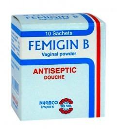 اكياس فيميجين ب غسول مهبلي مطهر قاتل للبكتيريا لعلاج التهابات المهبل Femigin B