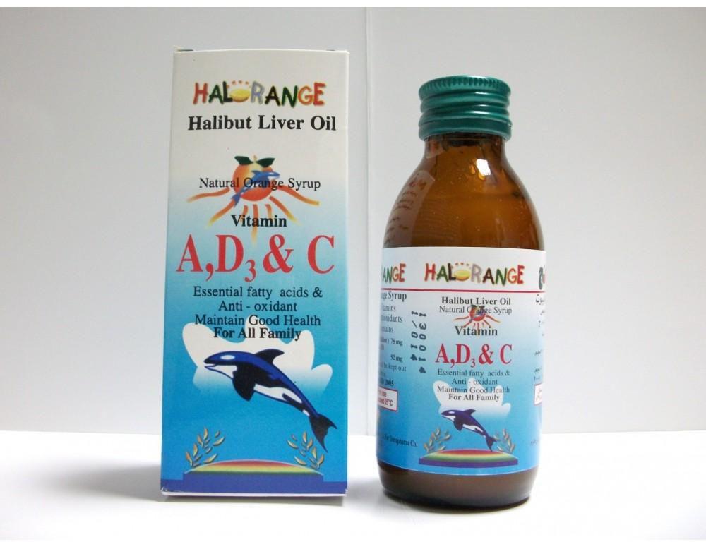 هالورانج Halorange شراب مكمل غذائي زيت كبد الحوت غني بالفيتامينات بمذاق البرتقال