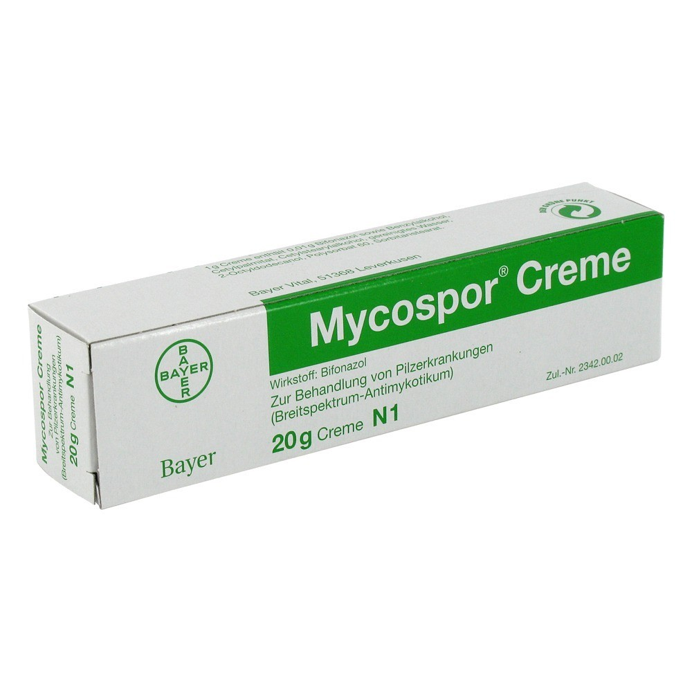 كريم و محلول مايكوسبور Mycospor لعلاج القدم الرياضي و الالتهابات الفطرية الجلدية يحتوي علي مادة البيفونازول المضادة للفطريات المسببة للالتهابات الفطرية الجلدية.